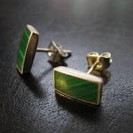 Boucles d'oreilles malachite 'rectangle'